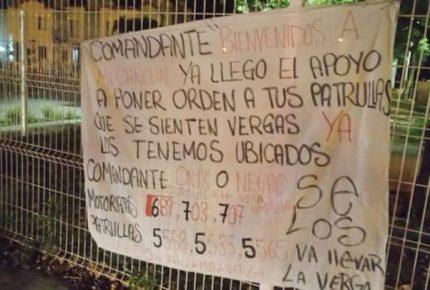Narco manta amenaza a patrulleros de #Cancún