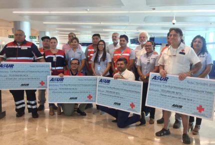 Donó #Asur 420 mil pesos a la #CruzRoja Mexicana en #Cancún como parte de un convenio de colaboración