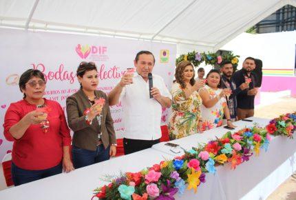 32 parejas se unen en matrimonio en Kantunilkín en San Valentín
