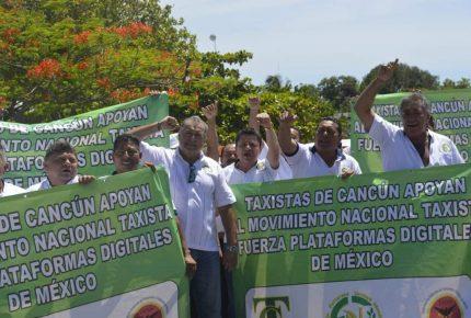 Medio millar de taxistas de Cancún se une a protesta nacional contra plataformas digitales